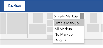 review the document displaying the simple markup track changes