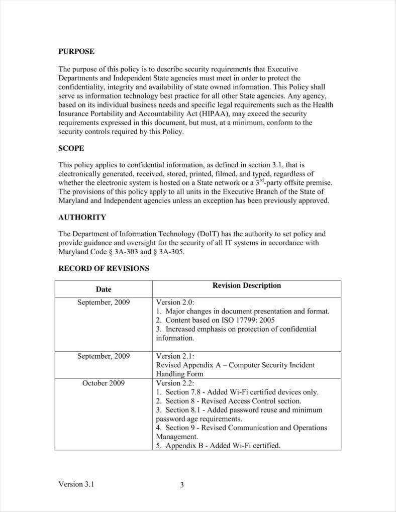 sample it policy document for a company