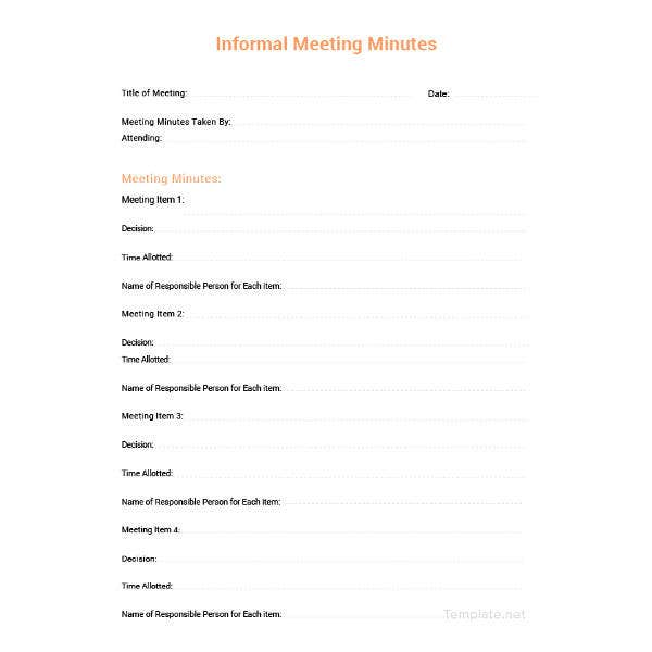 sample minutes of meeting document