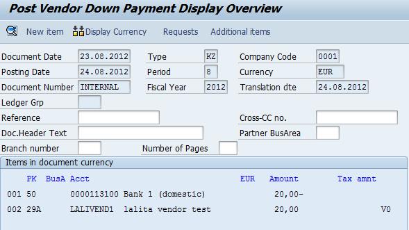 sap settlement document sender table