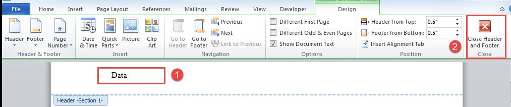 show document text in header of word dociument