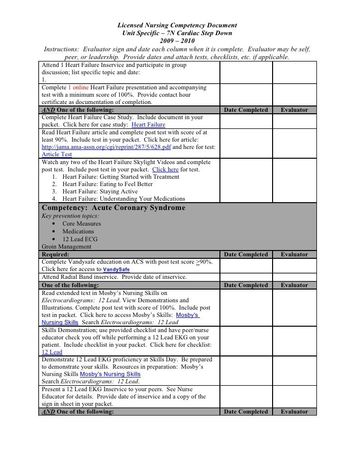 skills competency checklist template document