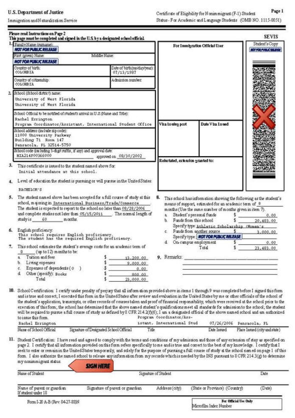student visa usa requirements document