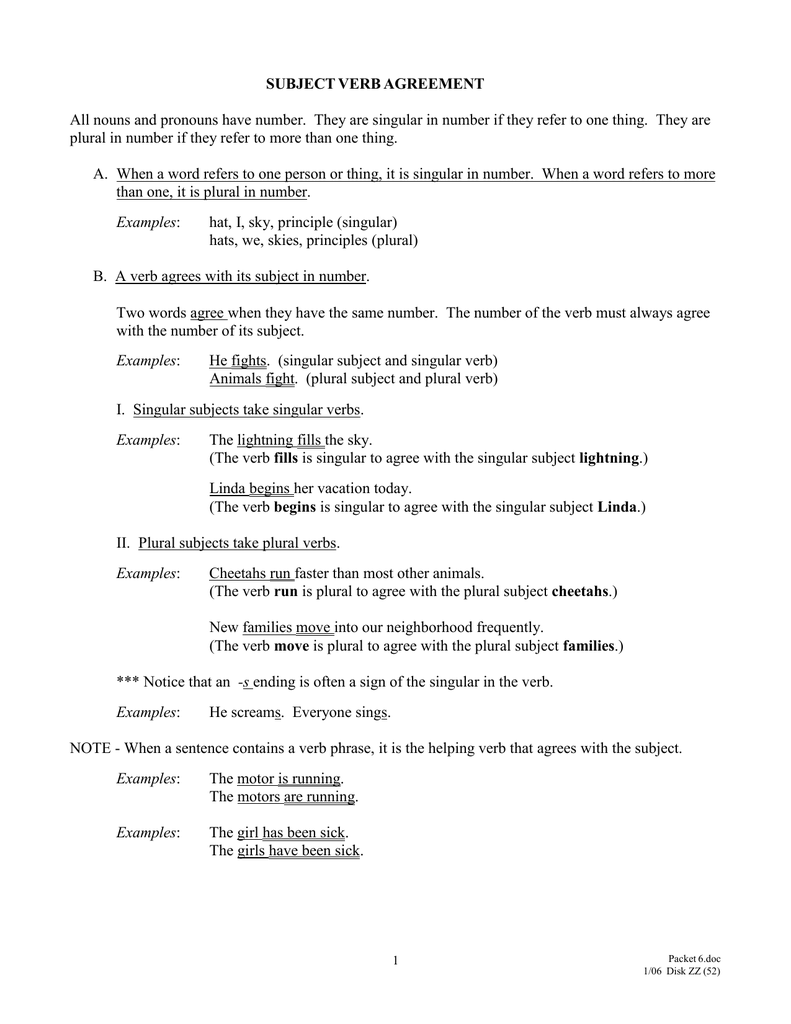 subject verb agreement word document