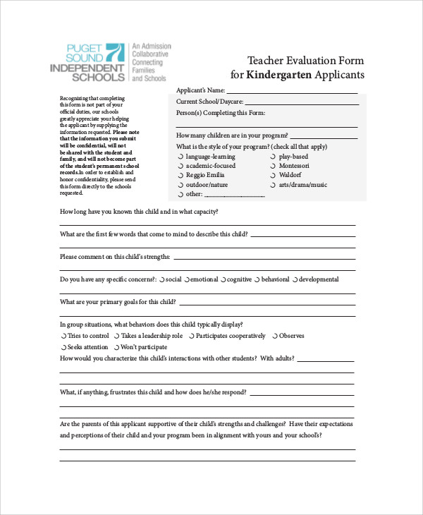 teacher evaluation form word document