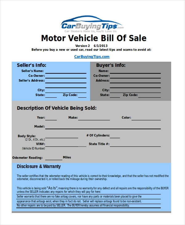used car bill of sale word document