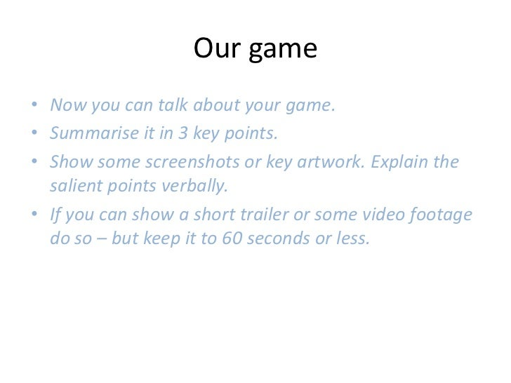 video game pitch document template