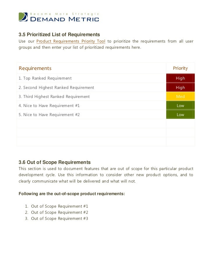 what is a requirements document