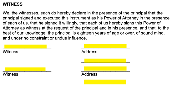 who witnesses the document for power of attorney nsw