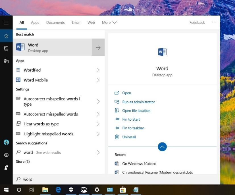windows 10 document search crap