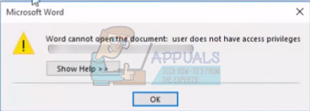 word cannot open the document user does not have privilidges