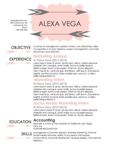 word document font for resume